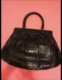 Zagliani Large Python Puffy Bag  Black image 2