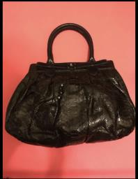 Zagliani Large Python Puffy Bag  Black image 1